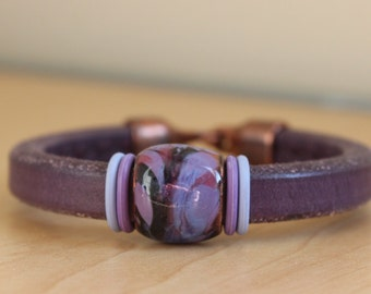 Purple Chunky Leather Bracelet