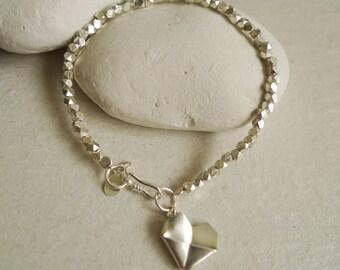 Heart Bracelet/Origami Heart Bracelet/First Anniversary Gift/Valentine's Gift/Lover Bracelet/Irregular Silver Bracelet/Matt Heart Silver