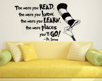 Dr Seuss Wall Decal Quote Vinyl Sticker Decals Quotes The More That You Read Decal Quote Sayings Wall Decor Nursery Art Kids Baby ZX239