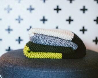 Hand Knit Stripe Green Baby Blanket