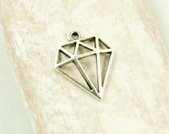 2x Diamond Pendant Antique Silver plated #3603