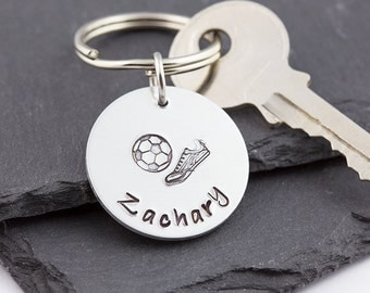 Personalized football keyring, soccer keychain, hand stamped, gift for him, name keychain, sports keyring, soccer team gift, round key fob