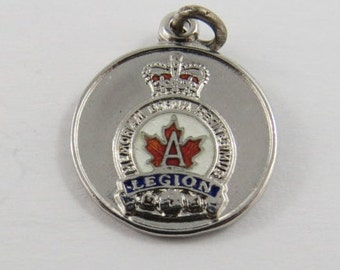 Canadian Legion Sterling Silver Pendant or Charm. BM Co.