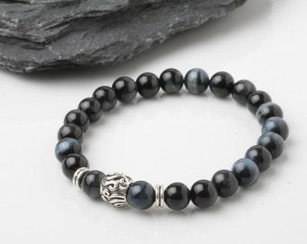 Men's blue tiger eyes bracelet, Grade 'A' blue tiger eyes, Mala bracelet, yoga bracelet, Energy bracelet, Meditation bracelet, gift for him