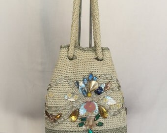 1950s Vintage Bejeweled Drawstring Pouch