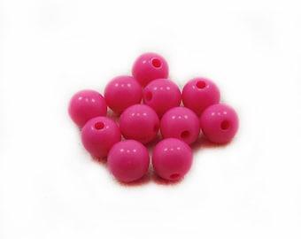 Fuchsia Plastic Beads, Plastic Beads, Acrylic Fuchsia Beads, 8mm Fuchsia Beads, 10 pcs Fuchsia Acrylic Beads, Jewelry Making, Craft Supplies