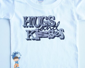 Valentines Day Toddler Tee, Hugs and Kisses, Valentines Day