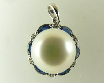 Freshwater White Pearl Pendant 14KW Gold With Diamonds 0.09ct & Sapphires 0.48ct