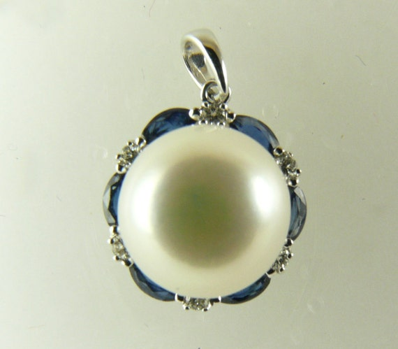 Freshwater White Pearl Pendant 14KW Gold With Diamonds 0.09ct & Sapphires 0.48