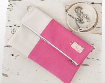 cross body leather bag / leather cross body bag /  cross body bag / leather folded bag / folded leather bag  cross body bag / present / pink