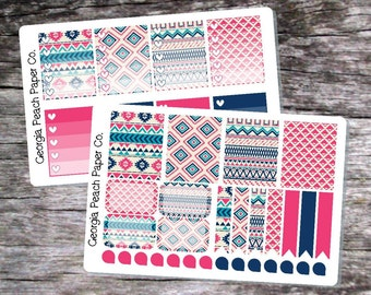 Hot Pink and Blue Aztec Themed Planner Stickers - Made to fit Vertical Layout