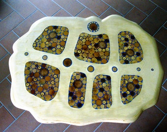 Wood mosaic. Table top. Hand made.