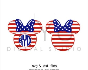 4th of July SVG cutting file American flag Minnie Mouse Ears SVG Fourth of July svg Independence Day SVG svg files for Cricut and Silhouette