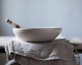 Raku Large Bowl / Raku spotted white glaze crackle / wabi sabi Japanese-style