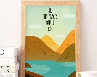 Nursery Illustration, Baby Wall Art, Oh the places you will go, Nursery Decor, Baby Gift Kids Decor, Mountains nursery, Nursery print