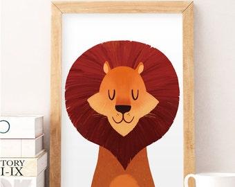 Lion wall art, Lion print, Safari animals, Animals print, Kids wall decor, Cute animals, Nursery decor, Nursery wall art, Animal portrait