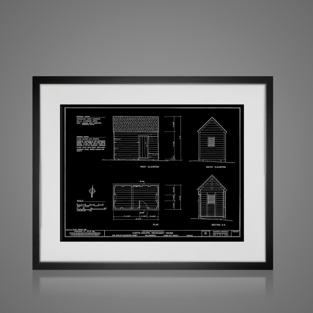 Framed Wall Art Vintage Outhouse Blueprint Free