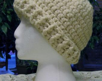Crochet Wool Blend, Winter Hat in Ecru