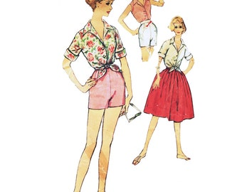 Vintage Sewing Pattern 1950s 1960's 1959 Women's Blouse Shorts Skirt Simplicity 2999 Size 12 Bust 32