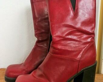 Vintage 90's Vegan Cherry Platform Boots size 7