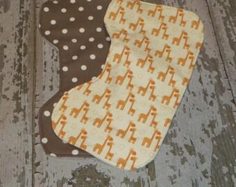 Contoured Burp Cloth // Set of 2 // Giraffes //Polka Dots // Gender Neutral