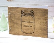 Mason Jar Wedding Guest Book Rustic Wooden Guestbook Country Wedding guest books