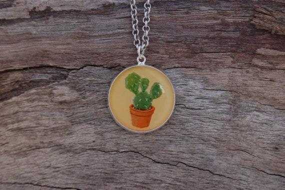 Hand Painted Cactus Pendant
