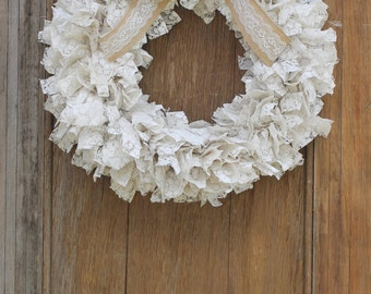 Lace Scrap Wreath, Lace Wreath, Wedding Wreath, White Wreath, Mother's Day Wreath, Vintage Wreath, Shabby Chic Wreath, Front Door Wreath