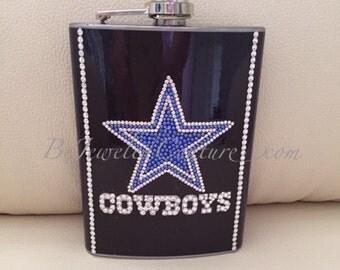 6 OZ Stainless Steel Swarovski Embellished Cowboys Flask