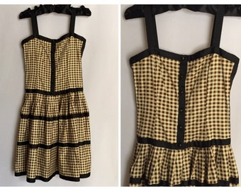 Sweet Retro 50s A-Line Sundress//Plaid Pattern//Size 2