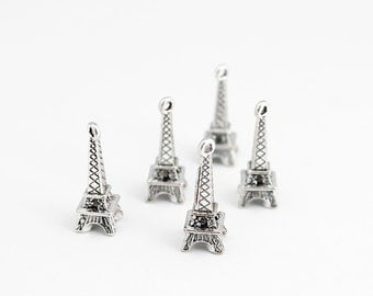 Antique Silver Eiffel Tower Charms - 5 Pieces
