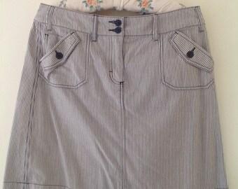 Vintage skirt, nautical skirt, sailor skirt, blue, white, striped skirt, cotton skirt, ladies, women's skirt, 90's clothing, mini skirt