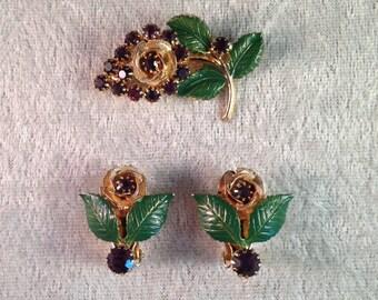 Vintage Hobé Demi Parure Brooch and Earrings (Two Piece Set) Purple Rhinestones Goldtone 544