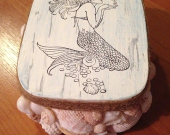 Mermaid Trinket, Treasure, Stash Sea Shell Jewelry Box