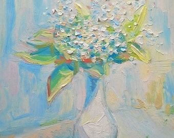 Lilly of the valley Bouquet in Vase White Flowers Oil Painting Still Life May Lily Wall Decor Nature gift for her Contemporary Modern Art