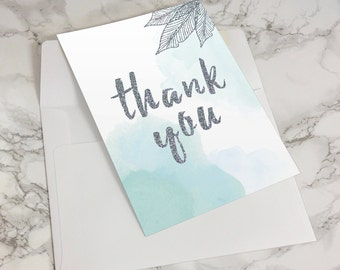 Thank You Card / Printable / Stationary / Instant Digital Download / DIY / Watercolor / Wedding / Mint / Blue / Feather / Silver / Glitter