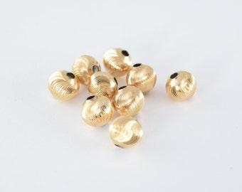 Gold Filled Diamond Cut Round Ball 8mm Bead GF3323 18KGF