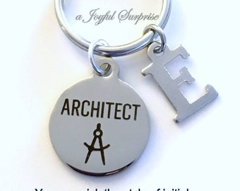 Architect Keychain, Architect Gift Present, Gift for Architectural Technology Student, Architecture Key Chain Grad Keyring Initial letter