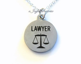 Lawyer Jewelry, Justice Scales Law School Necklace, Man Men Male Guy Professional Gift for student Silver Charm birthday Graduation present