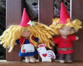 Gnome Girl & Boy With Pet- Minature Felt Dolls