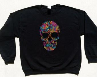 Black Flower Skull Crewneck Cool Day Of The Dead Dia De Los Muertos Sweatshirt