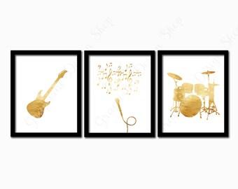 Music prints. Guitar, Microphone, Drums print. Instant download printable. PDF diy digital wall art. Set of 3. Instrument print. home decor.