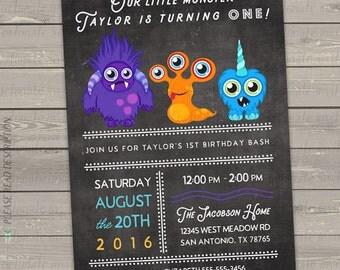 little monster invitation printable, monster 1st birthday invitations boy, kids monster invitations digital or printed invitations