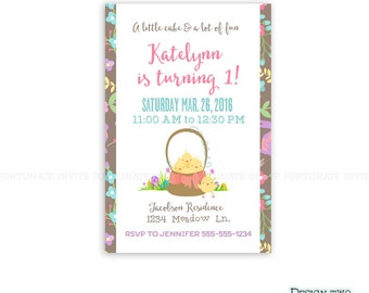 kids birthday invitation printable, 1st birthday party invitation, Easter birthday party invite, spring Easter egg baby chicks JPG 4x6