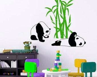 Wall Decal Panda Pandas Bamboo Bear Animal Vinyl Sticker Home Décor Bedroom Nursery Room Living Room Murals M16