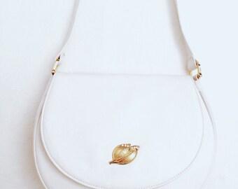 Vtg 80s Leather Minimal White Mirjana Marić Bag