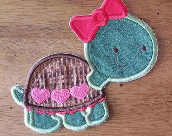 Iron On Applique Valentines Turtle