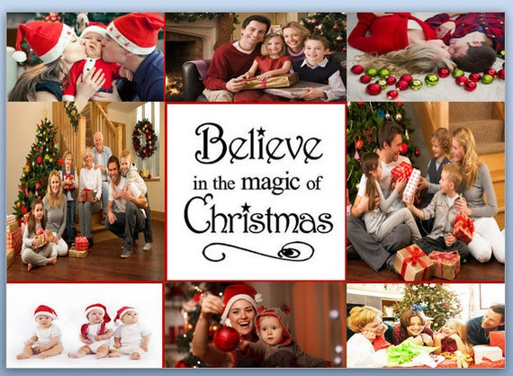 items similar to a family holiday christmas photo collage template card on etsy. Black Bedroom Furniture Sets. Home Design Ideas