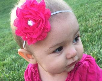 Pink Flower Headband with Jewel