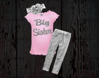 Big Sister Outfit - Sister Announcement Shirt - New Baby Announcement - Big Sister - Pink and Silver